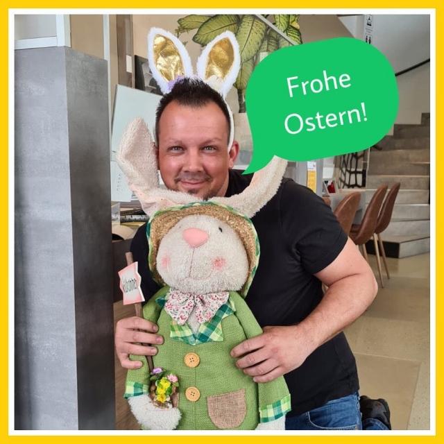 """Unser """"Osterhase Erich"""" und das gesamte Team wünschen euch ein schönes Osterfest und viel Spaß beim Eiersuchen! 🐰 #fahrschulesommer #fahrschule #villach #ostern #froheostern #ostehase #habteinegutezeit"""